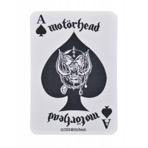Motorhead White Playing Card Woven Patch