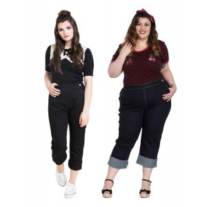 Hell Bunny Charlie Denim Capris Trousers in Navy & Black