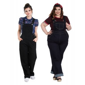 Hell Bunny Ella May Denim Dungarees in Navy & Black