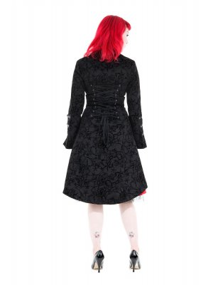H&R London Fitted Long Tattoo Flock Coat