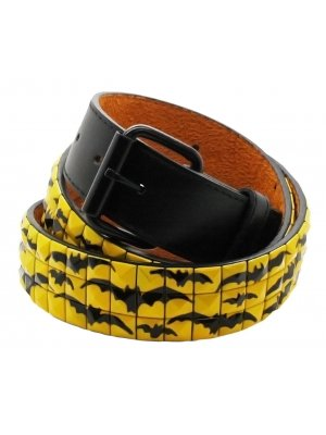 Bullet 69 Black and Yellow Pyramid Bats Studded Belt