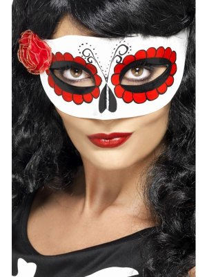 Smiffy's Mexican Day Of The Dead Half Eye Mask With Rose