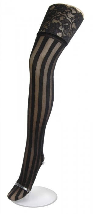 58cebceac10 Music Legs Sheer Stripe Thigh High Silicon Lace Top Tights - Rock Collection