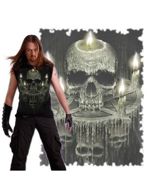 Spiral Waxed Skull Sleeveless T-Shirt