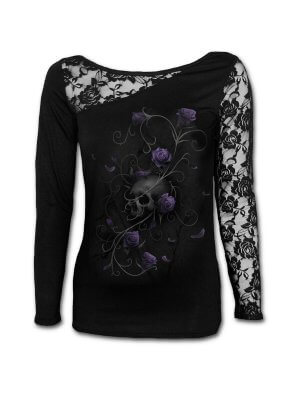 Spiral Entwined Skull Lace One Shoulder Top