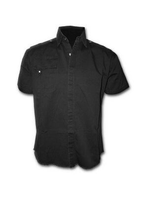 Spiral Metal Streetwear Short Sleeved Stone Washed Workshirt