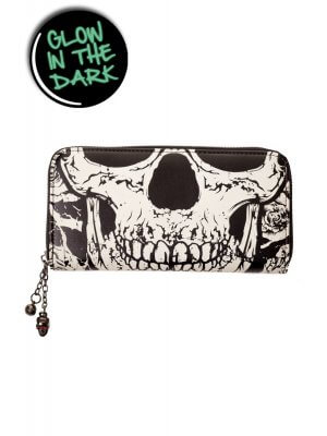 Banned Black Glow In The Dark Skull Face Purse