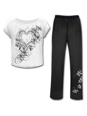 Spiral Pure of Heart Four Piece Gothic Pyjama Set