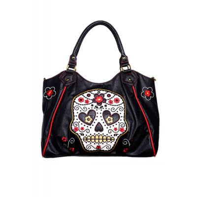 Banned White Sugar Skull Handbag