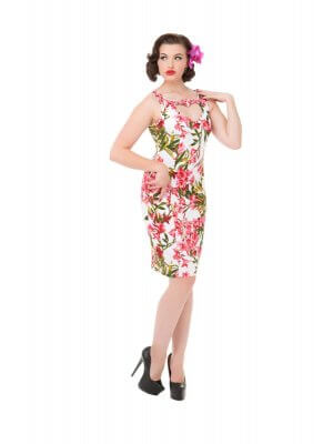 H&R Pink Maureen Floral Wiggle Dress