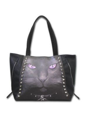 Spiral Black Cat Studded Tote Bag