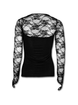 Spiral Vamp Fangs Lace Neck Goth Top