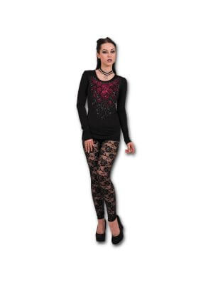 Spiral Blood Rose Viscose Longsleeve Top