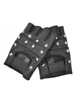 Bullet 69 Black Studded Biker Leather Gloves