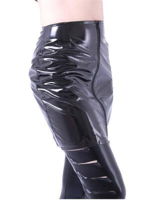 Phaze Black Gloss Fatale Mini Skirt