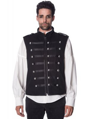 Banned Black Military Drummer Waistcoat
