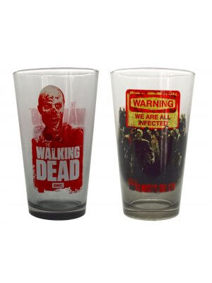 The Walking Dead Warning Glass Set