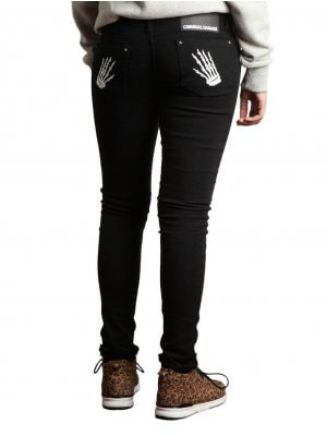 Criminal Damage Embroidered Hand Skinny Jeans