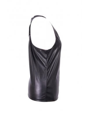 Phaze Tom Tight Leather Look Zip Vest