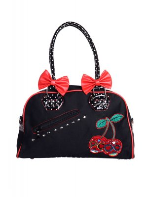 Banned Cherry Skulls Handbag With Polka Dot Trim & Handles